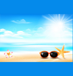 sunglass star fish and flower in sand beach vector image