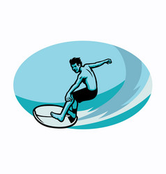 Surfer riding waves vector