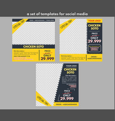 Template for food is used for promotion on social vector