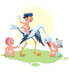 The stork brought young children vector image