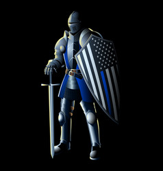 Thin blue line knight vector