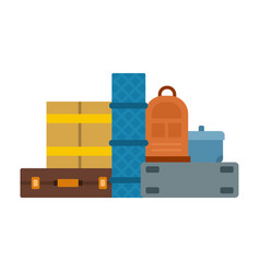 things packed in suitcases icon flat isolated vector image