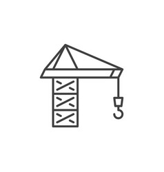tower crane concept minimal icon in thin vector image