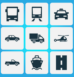 transport icons set collection of chopper vector image