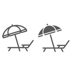 Umbrella and sun lounge line and glyph icon vector