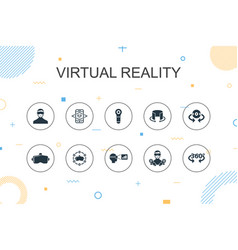 Virtual reality trendy infographic template thin vector