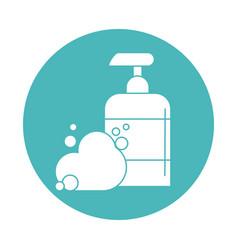 Virus covid 19 pandemic liquid soap dispenser vector