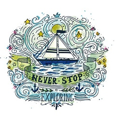 Watercolor vintage label with a ship and hand vector