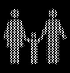 white pixelated family child icon vector image