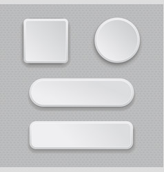 White web buttons on gray background plastic 3d vector