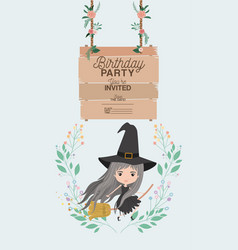 Witch flying with wooden label invitation card vector
