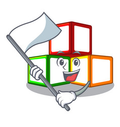With flag toy blocks on cube boxes mascot vector