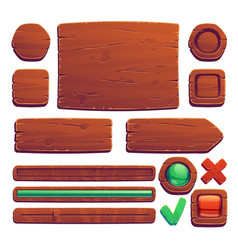 wooden game buttons cartoon game wood interface vector image