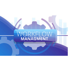 Workflow management concept banner cartoon style vector
