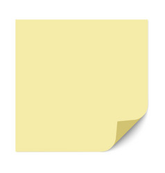 yellow square sticky note with a bent right vector image