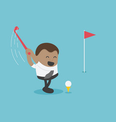 Young african businessman is golfing vector