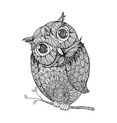 zentangle style owl isolated with vector image