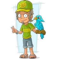 Cartoon standing zoo worker in green vector image vector image