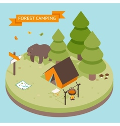 Isometric 3d forest camping icon vector image vector image
