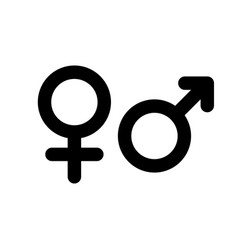 Male and female gender symbol simple black flat vector