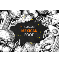 mexican food sketch label in frame vector image vector image