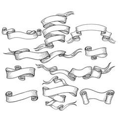 scroll sketch vintage swirl ribbons set vector image vector image