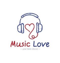 sketch style music store logo Headphones vector image
