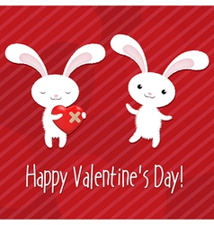Valentines Day Card With Rabbits vector image vector image