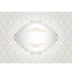 Vintage white frame on damask background vector image