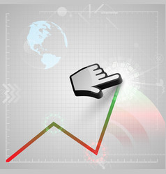 graph and a cursor hand vector image vector image