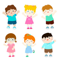happy kids variety nationality cartoon vector image vector image