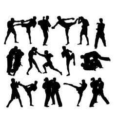 judo and thay boxing silhouettes vector image vector image
