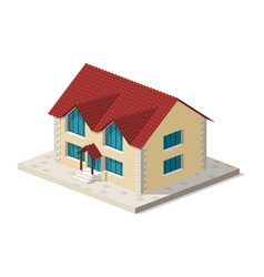 little isometric house with shadow on white vector image