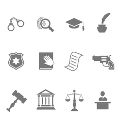 Set of black and white silhouette justice and vector image