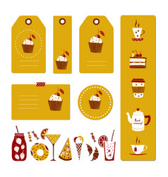 set of drinks and dessert tags vector image