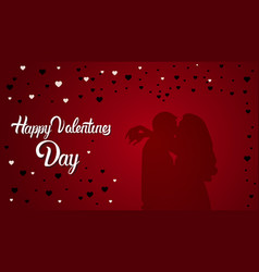 valentines day background couple silhouette vector image vector image