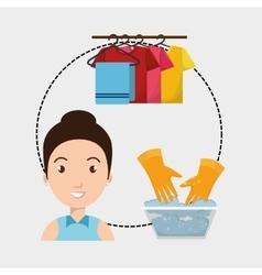 woman washing clothes hang gloves vector image
