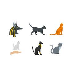cat icon set flat style vector image