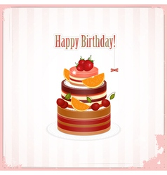 chocolate berry cake vector image vector image