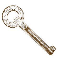 engraving of old key vector image