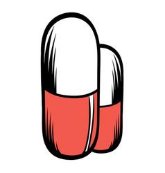medical capsule icon cartoon vector image