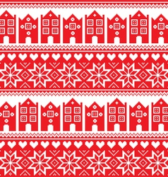 Nordic winter seamless red pattern with houses vector image vector image