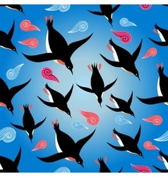 penguins swimming in the sea vector image vector image