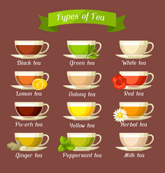 types of tea set of glass cups with different vector image vector image