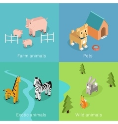 Wild Exotic and Farm Animal Set Isometric vector image