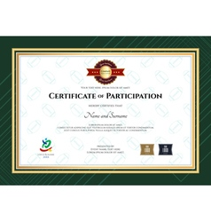 Certificate of participation template in sport the vector
