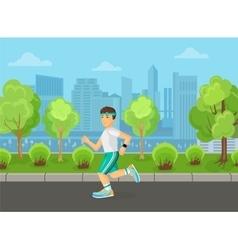 Runner men running on the street city park concept vector image vector image