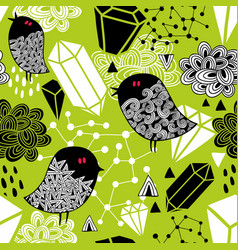 seamless pattern with cute nightingales and red vector image vector image