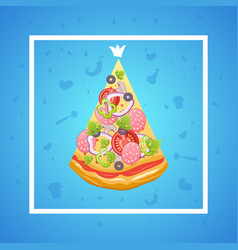 slice of pizza king vector image