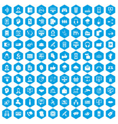 100 contact us icons set blue vector